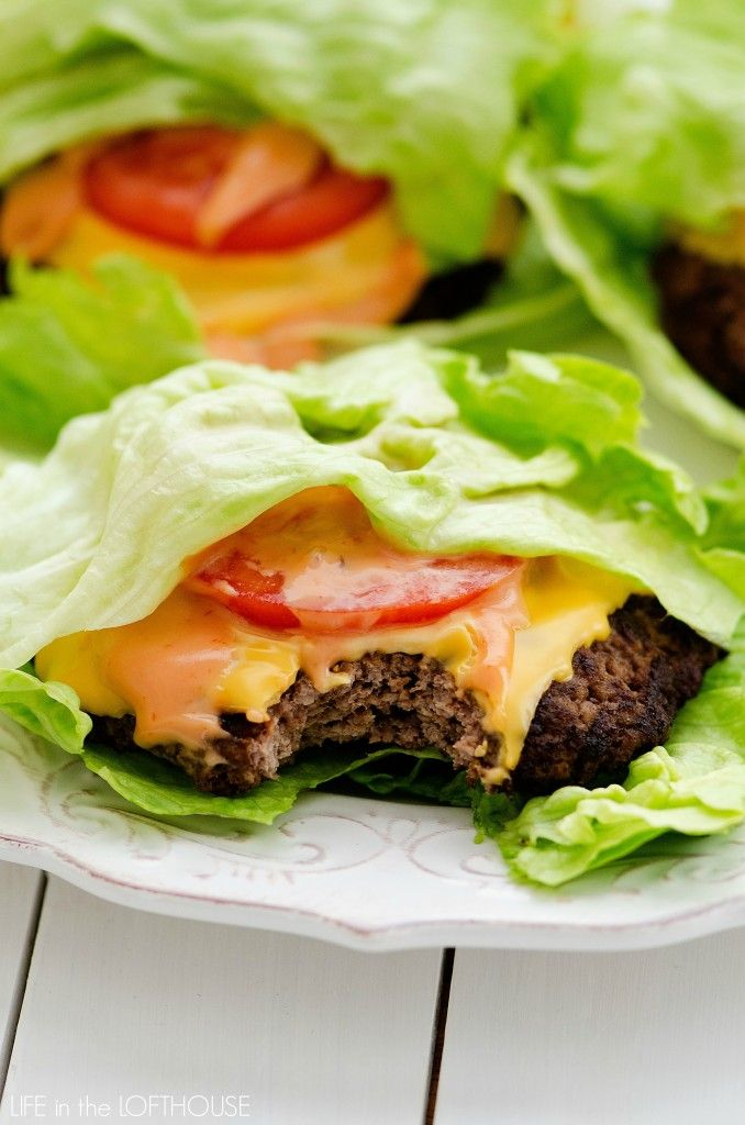 Cheeseburgers... Mmmm. Why are they so dang delicious? :D Even when I'm trying to eat lighter I still won't deny myself a cheeseburger. That's when these lettuce wrapped babies make an appearance! A flavorful burger topped