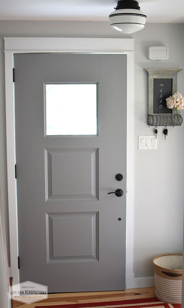 Simple updates for a small entryway foyer grey sherwin williams door barn light electric - Small entryway paint colors ...
