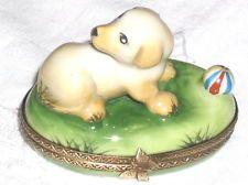 GR Limoges Yellow Labrador Retriever Puppy Trinket Box