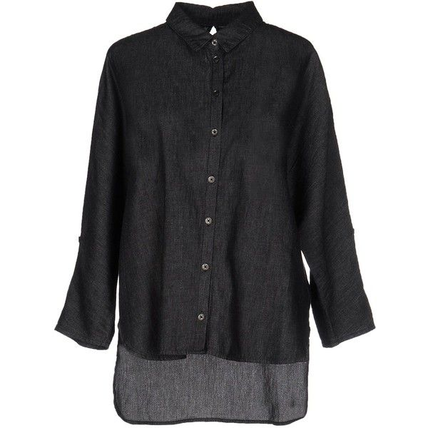 Only Denim Shirt ($30) ❤ liked on Polyvore featuring tops, black, 3/4 length sleeve shirts, denim shirt, 3/4 sleeve tops, only tops and three quarter sleeve tops