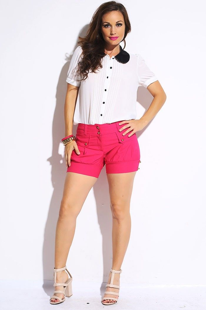 1f47f684defe2 #1015store.com #fashion #style berry pink golden button balloon  shorts-$15.00