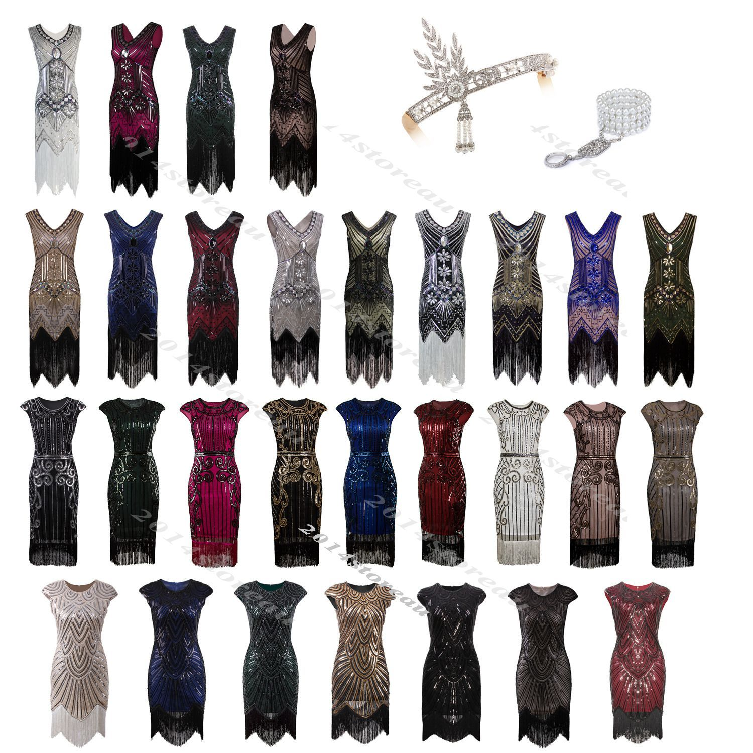 bec07f77 1930S 1920S Flapper Dress Gatsby Vintage Charleston Wedding Fringe Sequin  Party