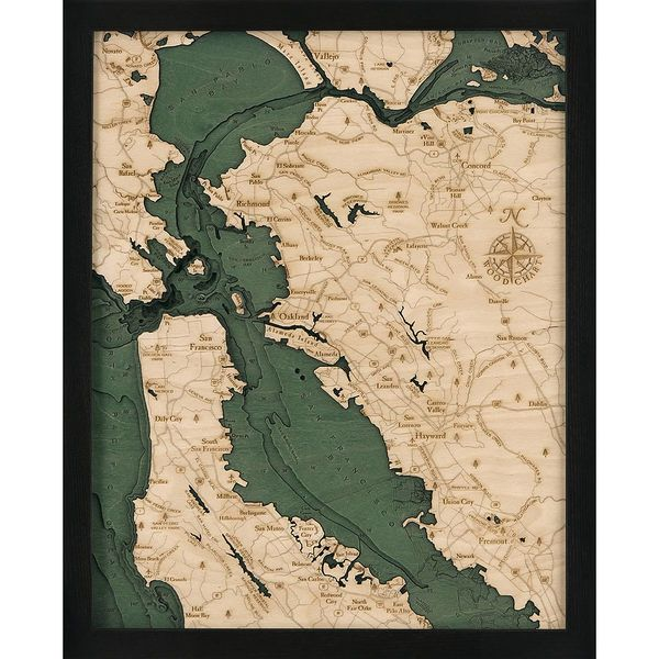 San Francisco Bay Area Small CA Wood Map Framed laser cut