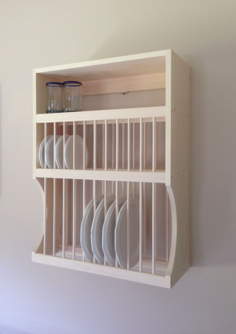 12 Large, 12 Small Plate Rack With Shelf by NicoletWoodProducts on ...