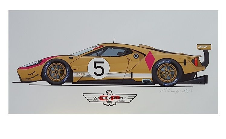Holman Moody Ford Gt Concept Race Car Art Print Signed Original