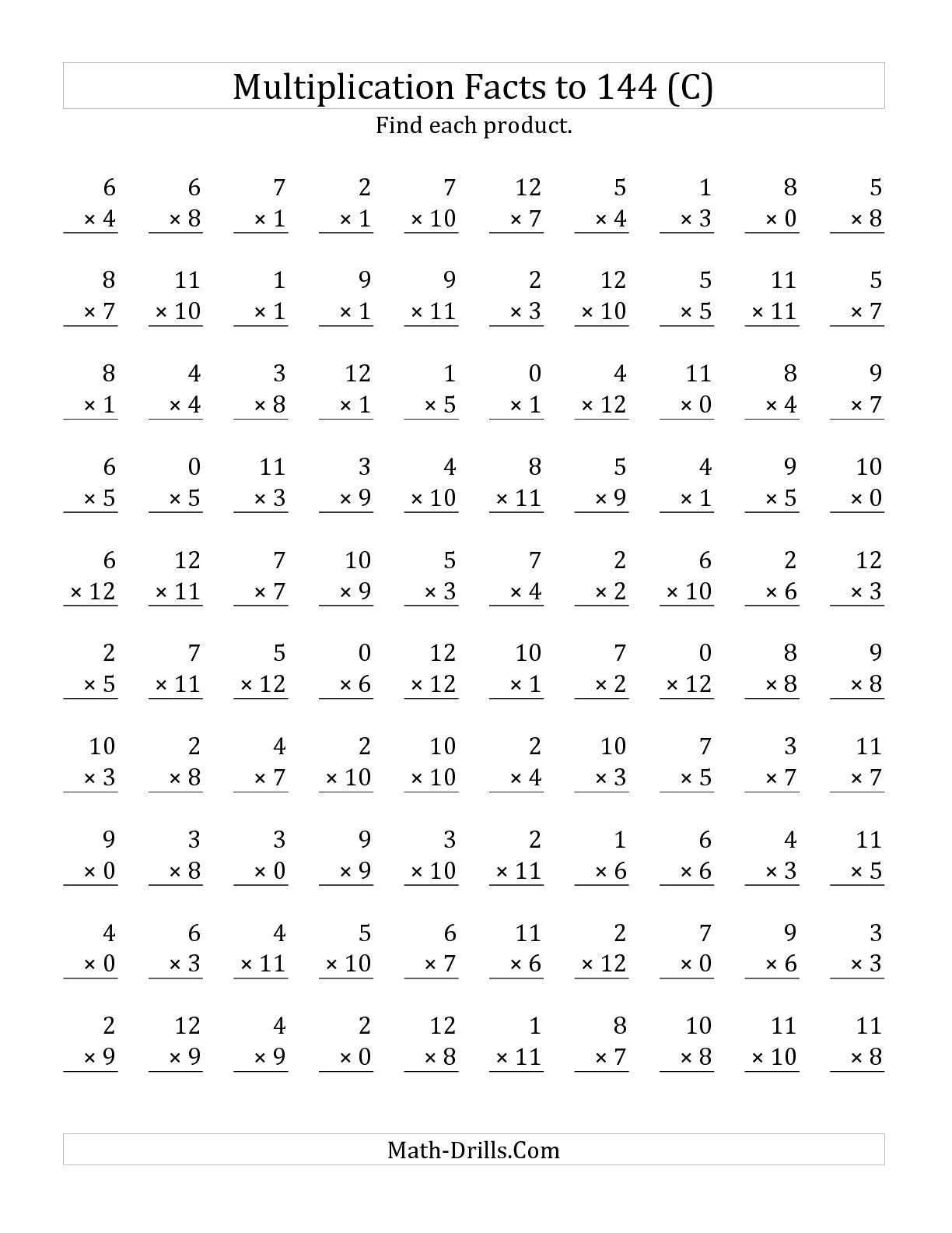 The Multiplication Facts to 144 Including Zeros (C) math worksheet ...