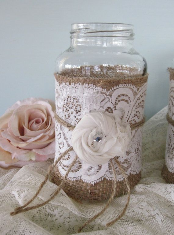 Vintage Lace On Burlap Wedding Mason Jars Set Of 3 By Fannypippin
