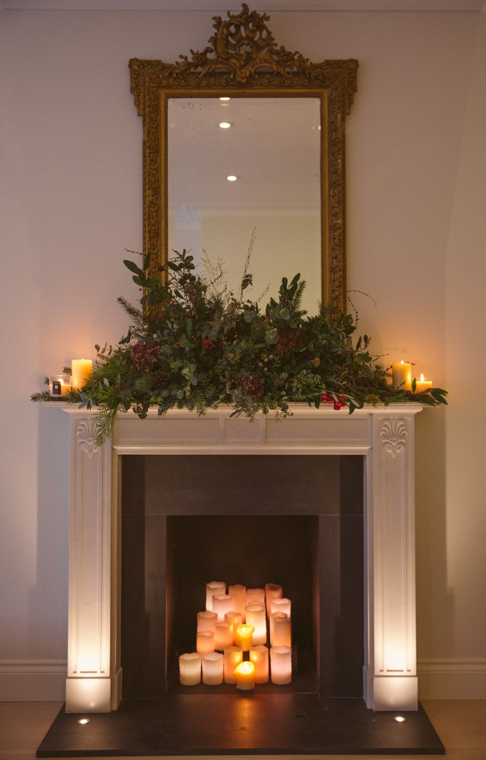 Fireplace lighting and candles Christmas Decorating Pinterest