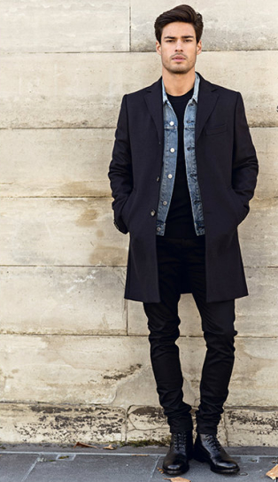 Black jeans, T-shirt, shoes and coat with denim jacket | Men's ...
