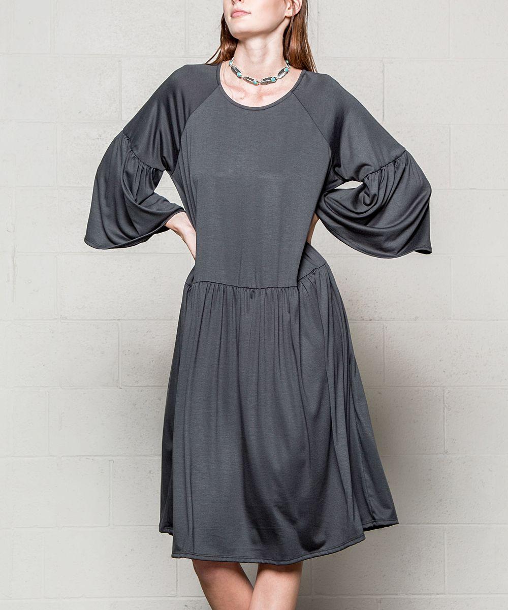Coal Black Bell-Sleeve Drop-Waist Dress