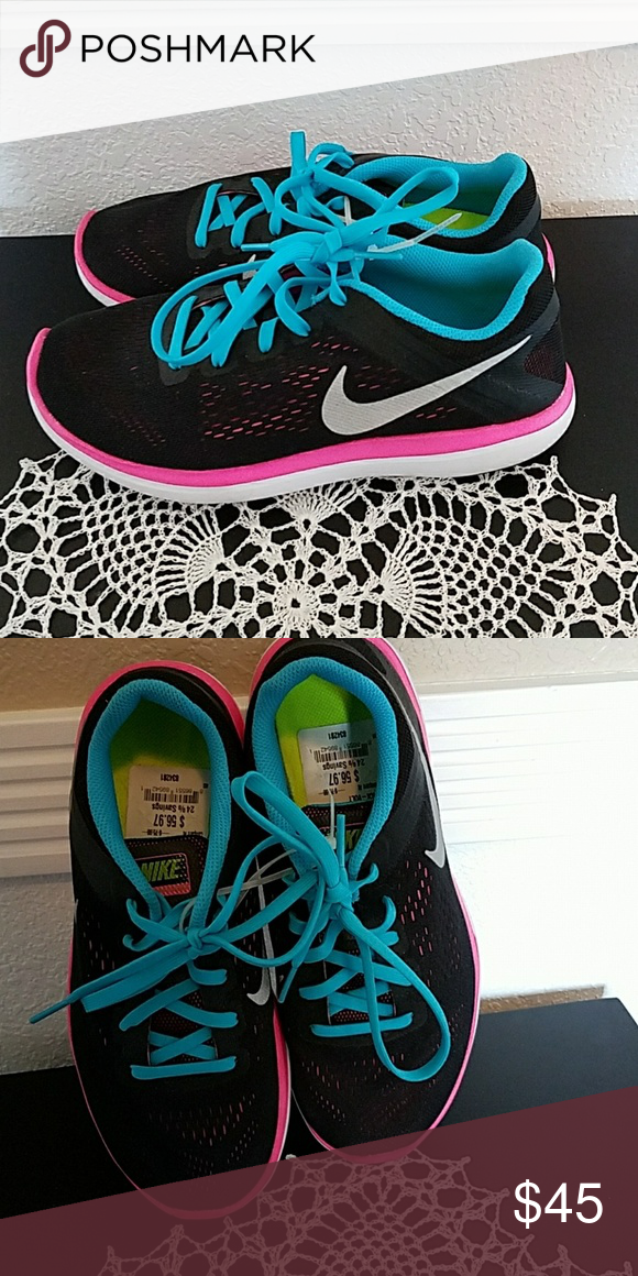 Nike running shoes Black, hot pink, and teal Nike 'Flex 2016