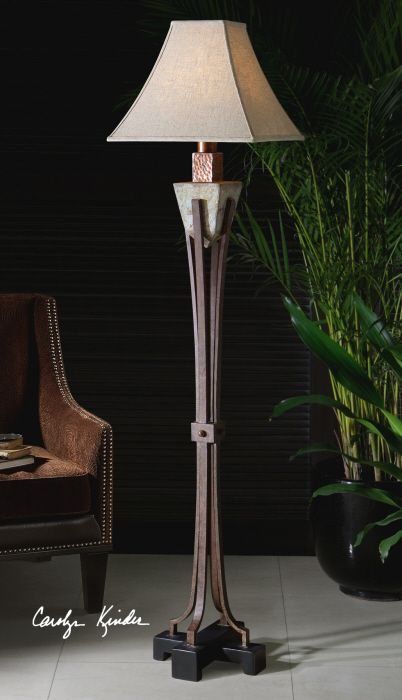 Uttermost Outdoor Floor Lamp Hammered Copper Accents