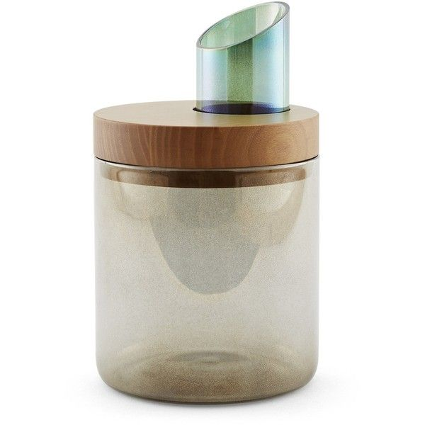 Incipit Lab Oasi - Glass Containers With Wooden Lid - Oasi Small Ø 12 × (h) 14 Cm featuring polyvore, home, kitchen & dining, food storage containers, brown, pasta jars, glass jars, colored jars, glass food storage containers and colored glass jars