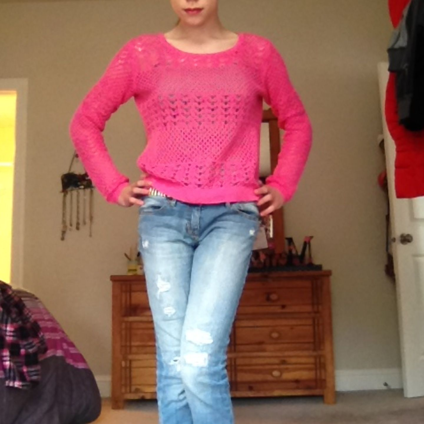 Green Camisole Under Pink Sweater Ripped Jeans And Fun Neon Zebra
