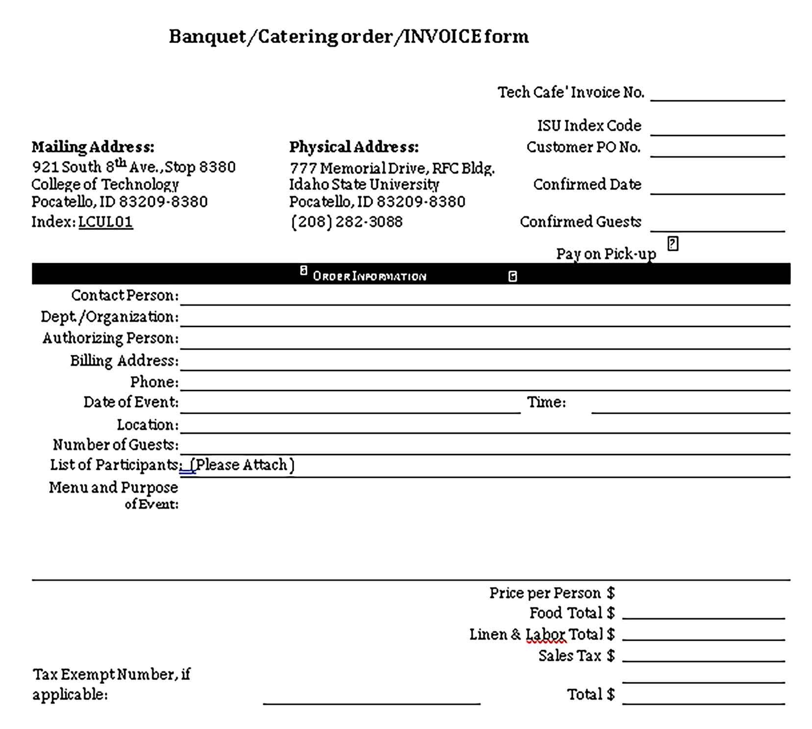 Sample Catering Receipt Template
