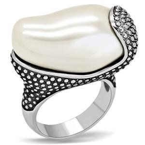 COCKTAIL RING - Stainless Steel Synthetic Pearl Nugget Ring CostumeFashionJewelry. $16.50