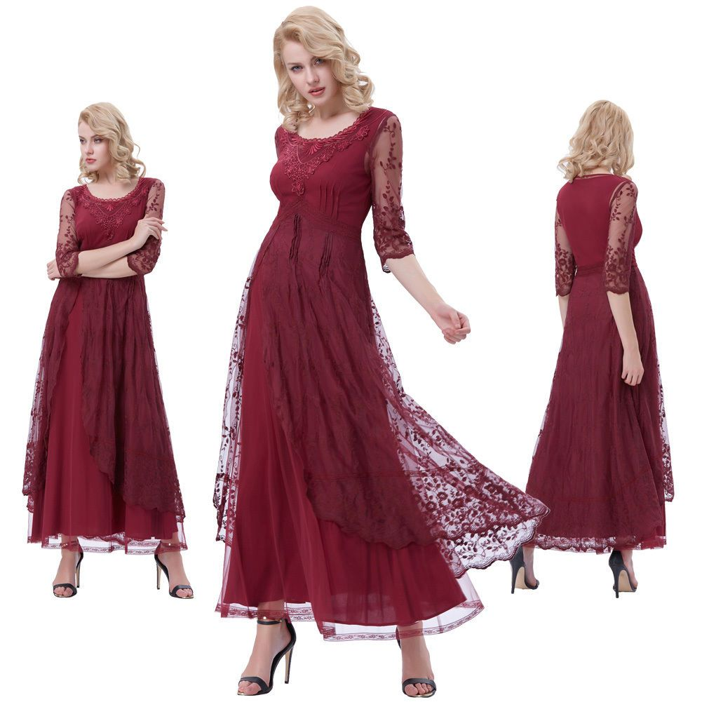 Womenus retro vintage victorian s long maxi prom gown evening