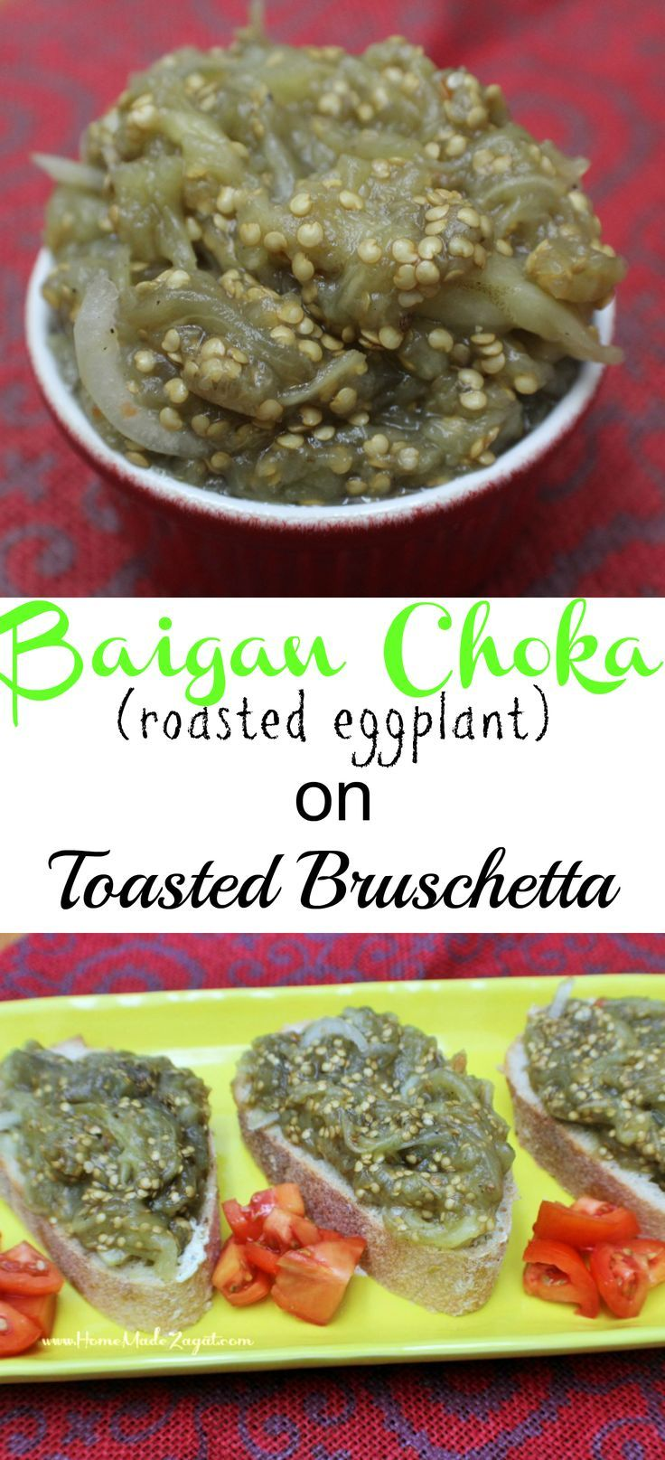 Baigan choka roasted eggplant on toasted bruschetta eggplants a caribbean vegetarian side dish that is robustly flavored with garlic while the eggplant is roasted forumfinder Images