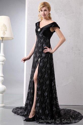 Romantic Black Sleeveless Floor-length Off-the-shoulder/V-neck Zipper A-line Train Court Lace Crystals/Lace/Split Empire Mother Of Bride Dress