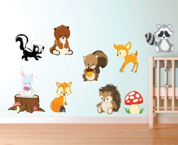woodland animal decals - forest animal fabric decals - woodland