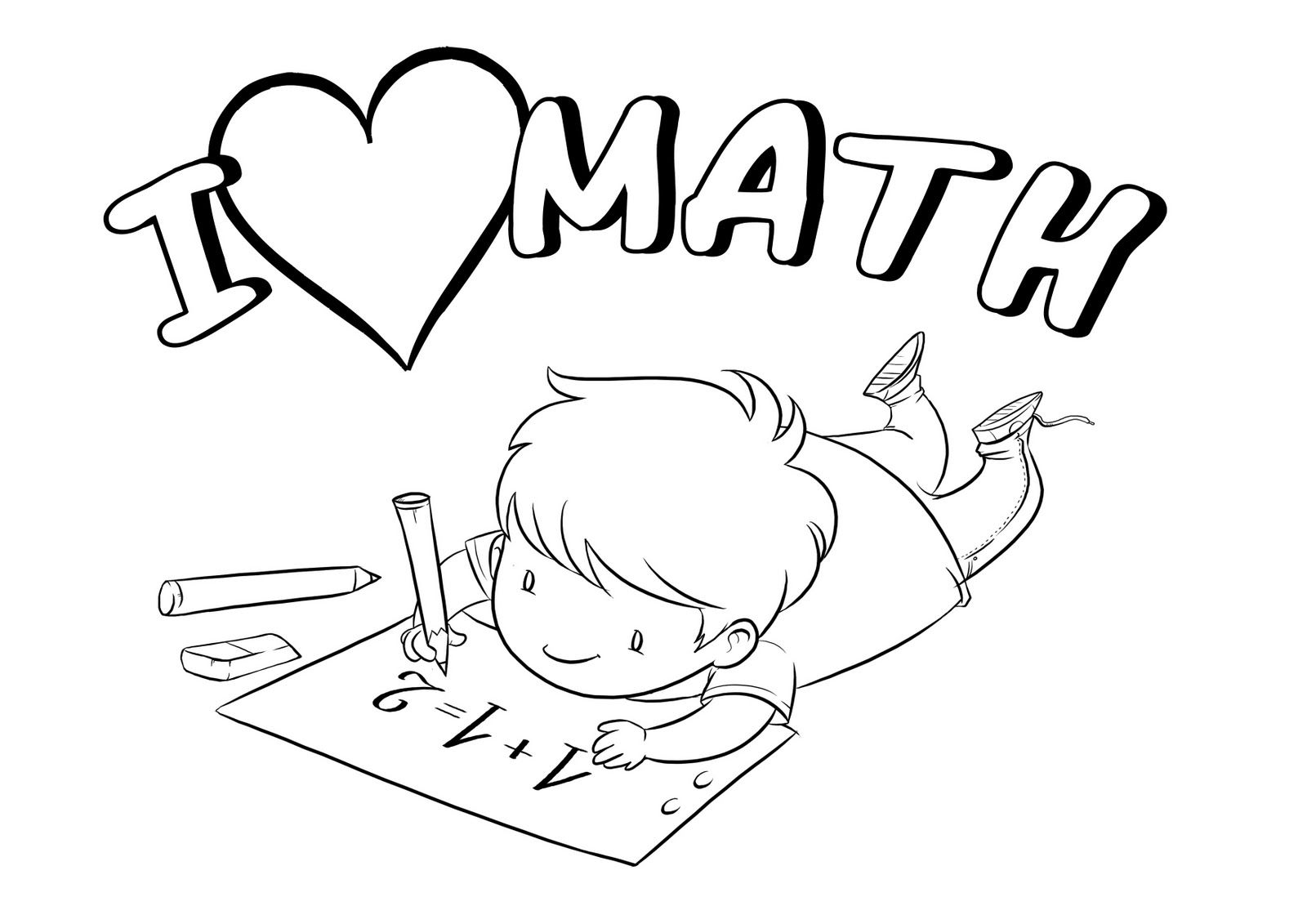 I Love Math Coloring Sheet In
