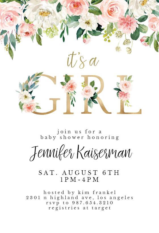 It S A Girl Floral Letters Baby Shower Invitation Template Greetings Island Baby Shower Invitations Diy Baby Shower Invites For Girl Free Baby Shower Invitations