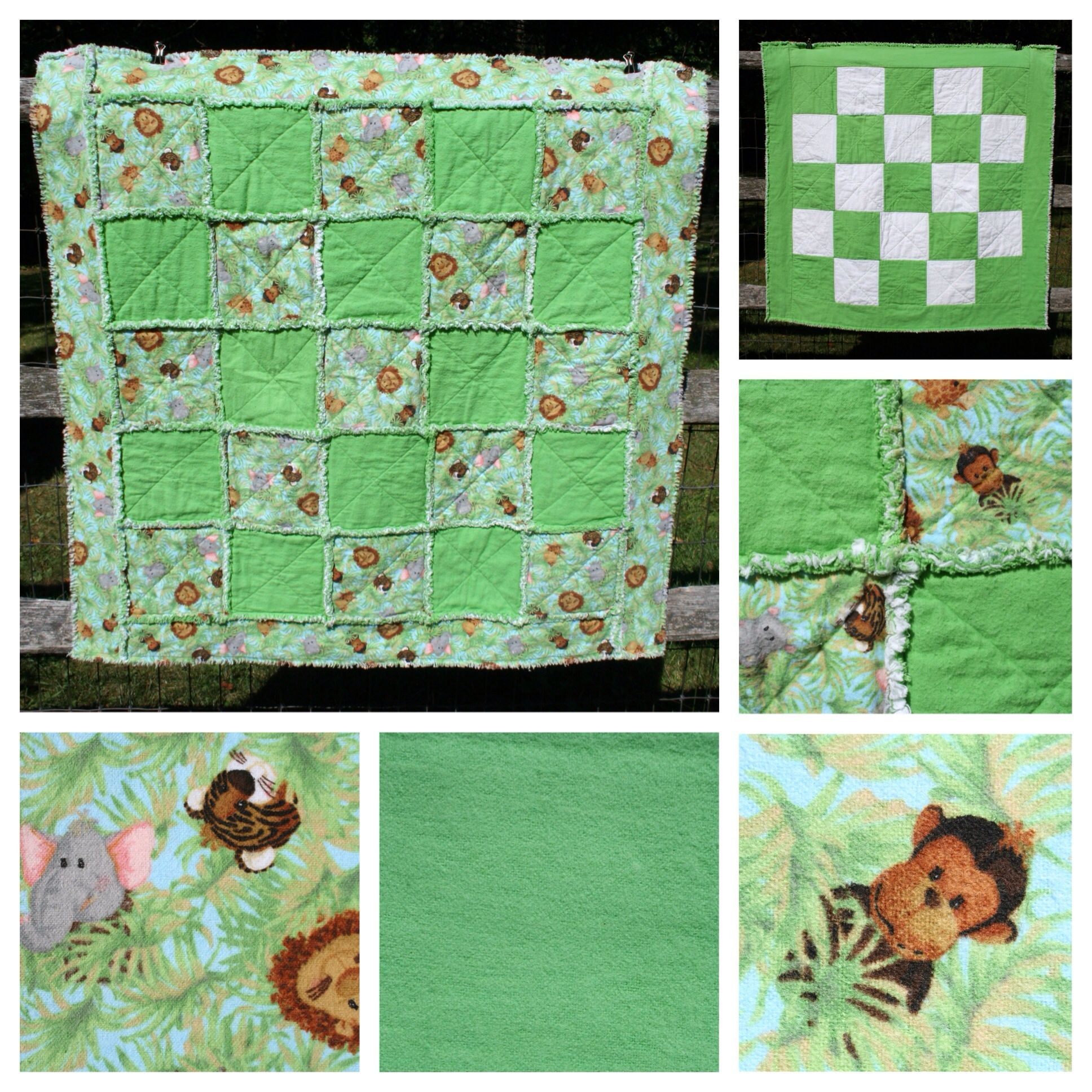 Green with jungle animals baby rag quilt