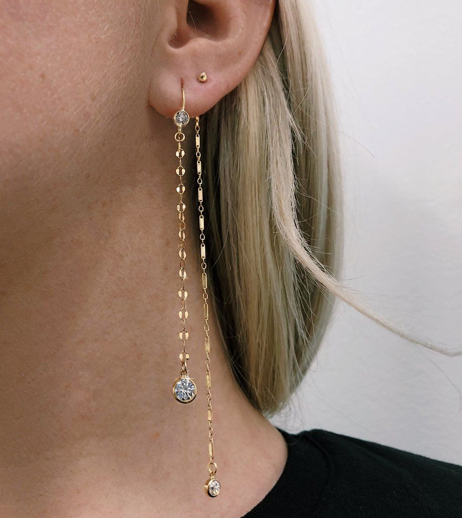 Gemstone earrings Chain earring, pull through chain Rainbow Moonstone gold filled threader earrings