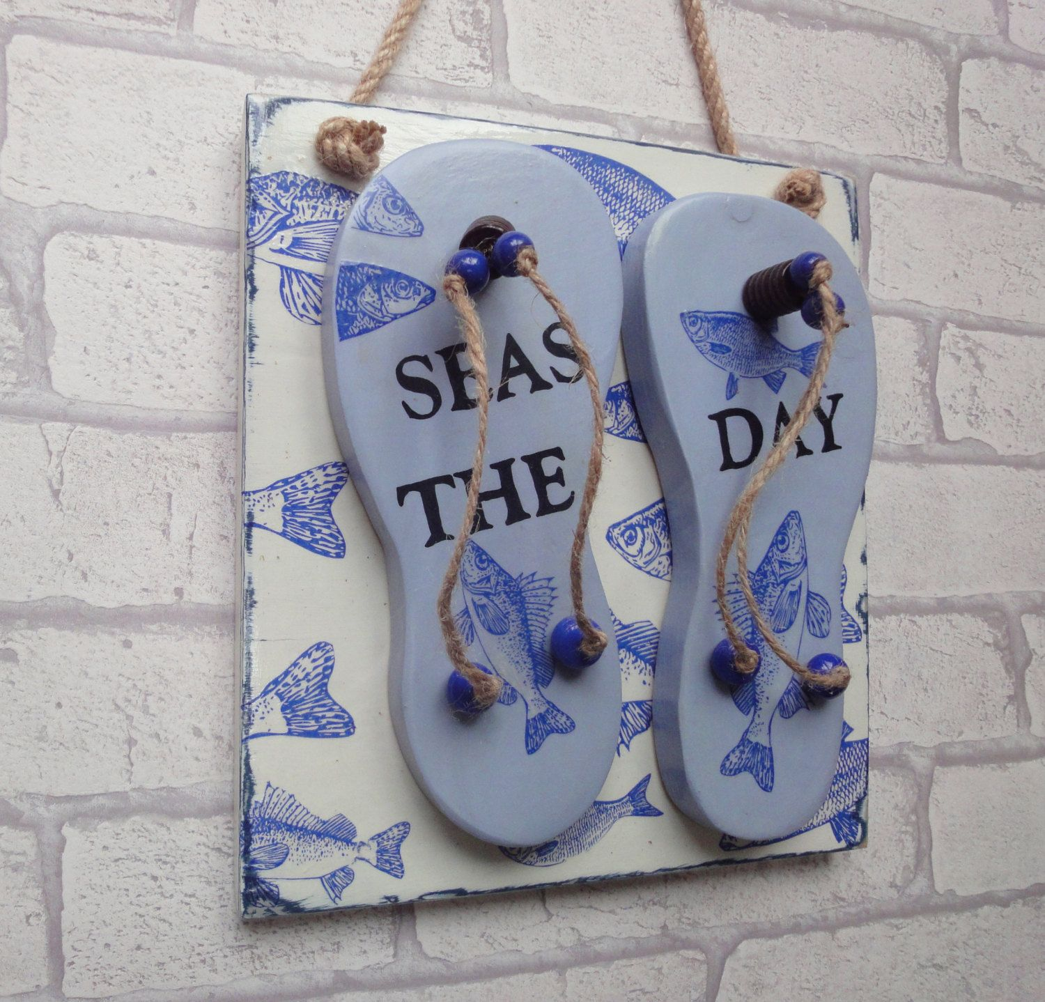 Flip Flop Wall Art Seas The Day Wall Decor Gift For Beach