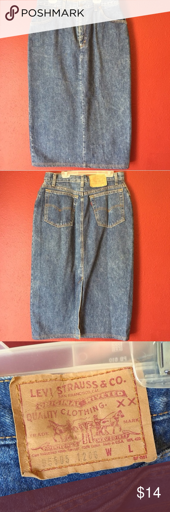 Levi pencil skirt Size 10. It says 13 but it runs small unless you have a really small waist. In perfect condition. Slit in the back. Hits right below the knee. *smoke free home*all clothes washed before being shipped* Levi's Skirts Pencil