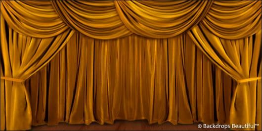 A Perfect Stage That Exudes Elegance And Glamour Characterizes The Hand Painted Drapes Gold Backdrop