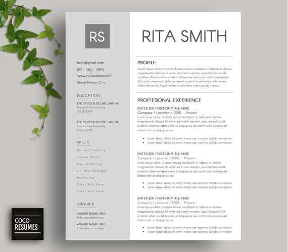 Resume Template CV Template for Word Mac or PC by CocoResumes Coco