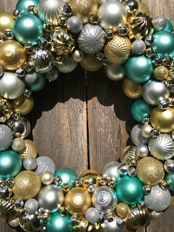Silver, Gold, and Teal Blue Ornament Wreath complete with Jingle Bells! Bauble Wreath! Christmas Wreath! The most detailed ornament wreaths