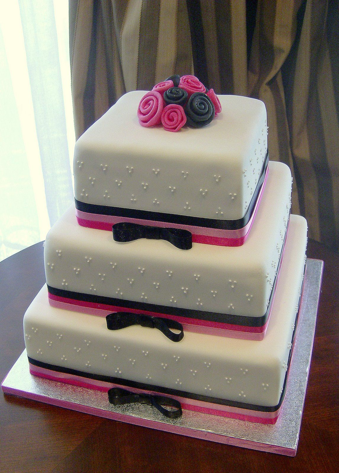 Tiered Fondant Square Cake With Ribbon Roses And