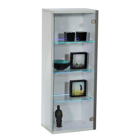 Crossana Wall Mount Glass Door Display Cabinet In White Gloss Door Displays Display Cabinet Glass Door