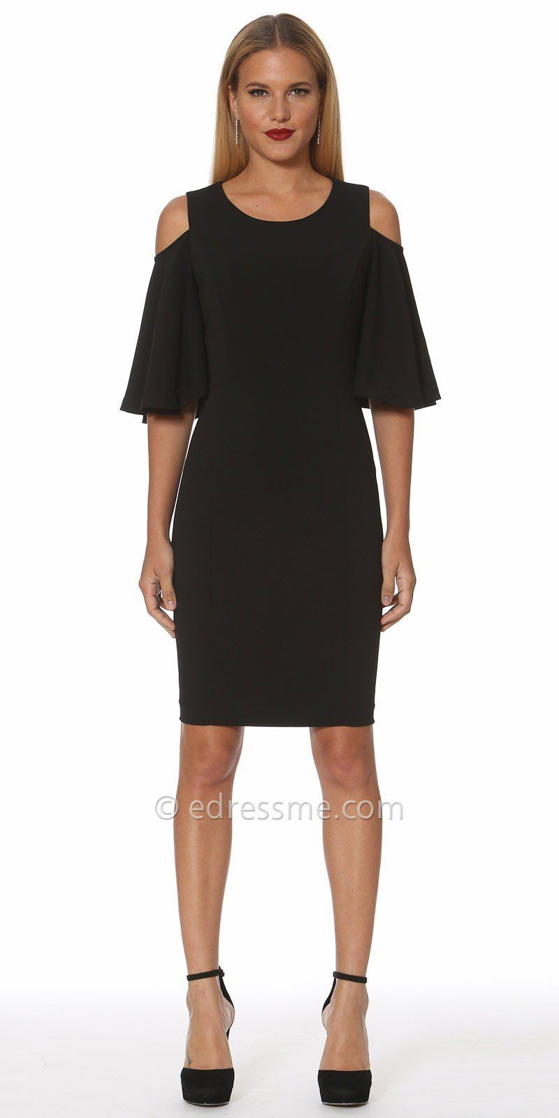 Flutter sleeve cold shoulder cocktail dress by nue by shani look