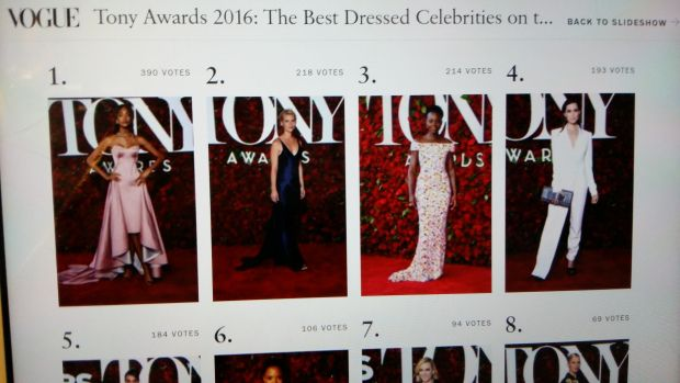 VOGUE WORLD FASHION PARTY NEWS&TRENDS 15.6.2016....4 BEST DRESSED.  5 TAKE AWAY MOMENTS TAKEAWY MOMENTS  33 BEST CELBRATY LOOKS The Tony Awards are this Sunday—on CBS, in case you missed it—and this year's crop…