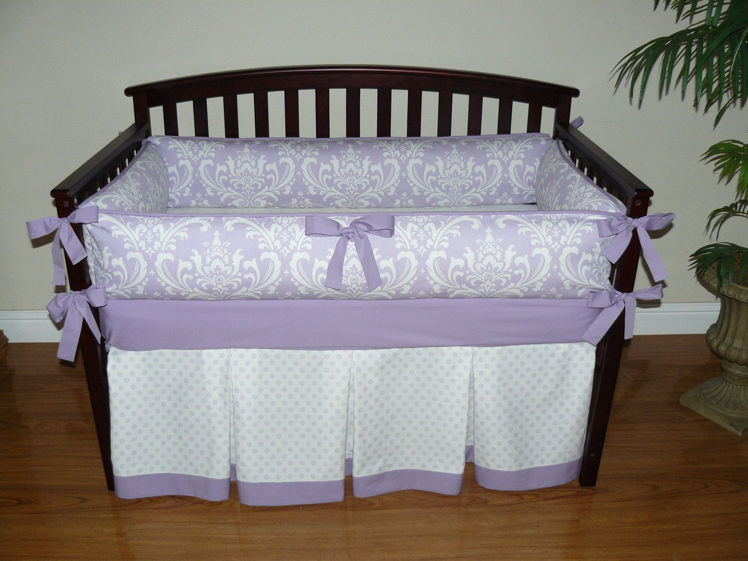 Baby S Nursery Bedding Lilac Osborne Damask Custom Crib 5 Pc Set