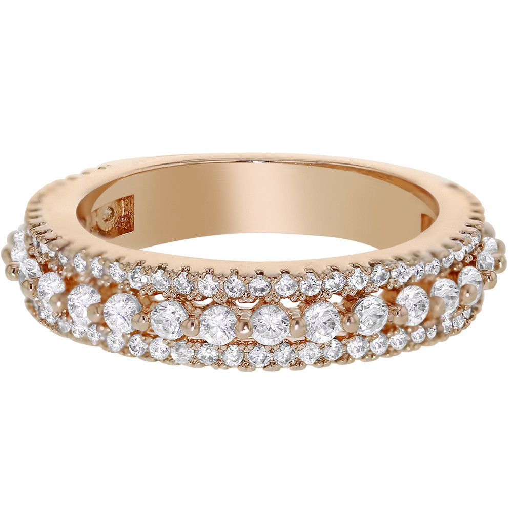 Rose Gold Plated Band Clear Crystal Special Occasion Girls Womens