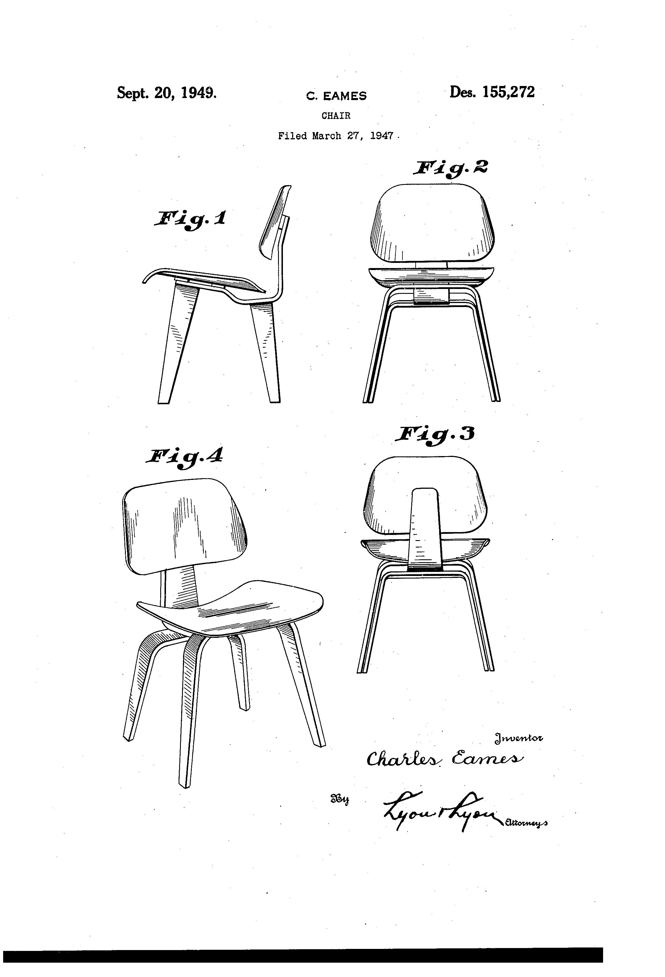 chair design patent reclining office chairs usd155272 for a google patents eames print