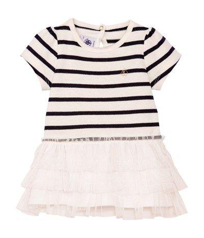 6a26c03296982 Robe bébé fille en jersey lourd à rayure marinière et tulle beige Coquille    bleu Abysse - Petit Bateau