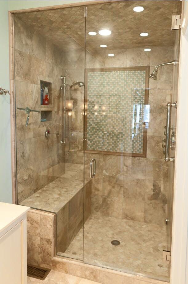 Check Out This Lovely Tile Shower We Did It Has A Nice Bench Seat And Beautiful Glass Shower Door With Chrom Shower Remodel Shower Tile Small Bathroom Remodel