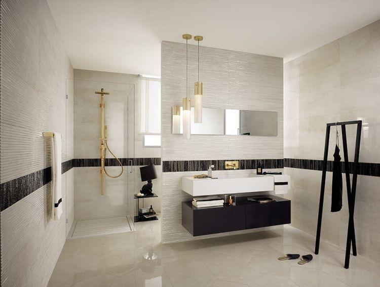 Designer-Badezimmer-in Schwarz und Weiß mit unebenen Akzenten ...