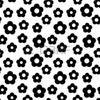 dessin noir et blanc: simple en noir et blanc de répéter fleur de