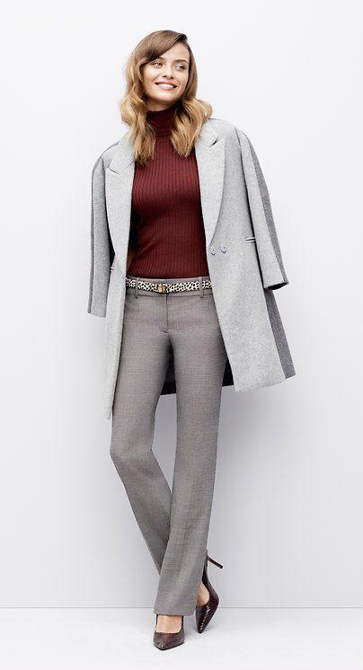 5570846d6609 light grey pants + burgundy sweater + burgundy pumps | Fall + Winter ...
