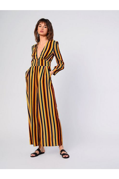 0138e8bc9756 Womens   Striped Button Jumpsuit by Glamorous - Mustard