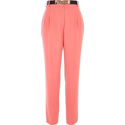 Coral high waisted curb chain belt trousers #riverisland #springpreview