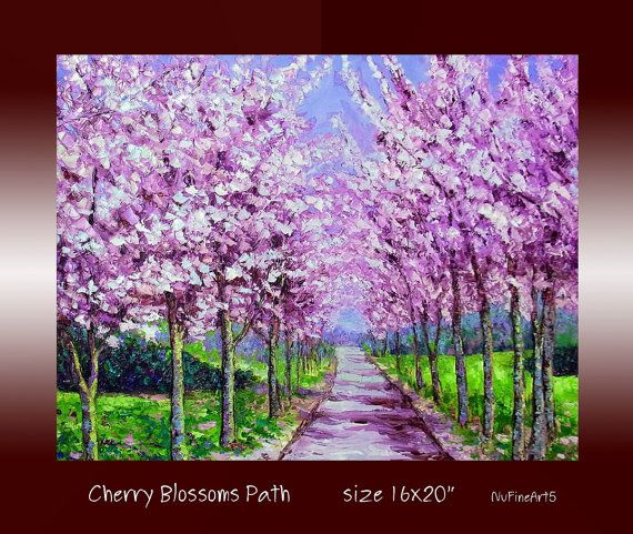 Cherry blossom tree sakura landscape original oil by for Canvas painting of cherry blossoms