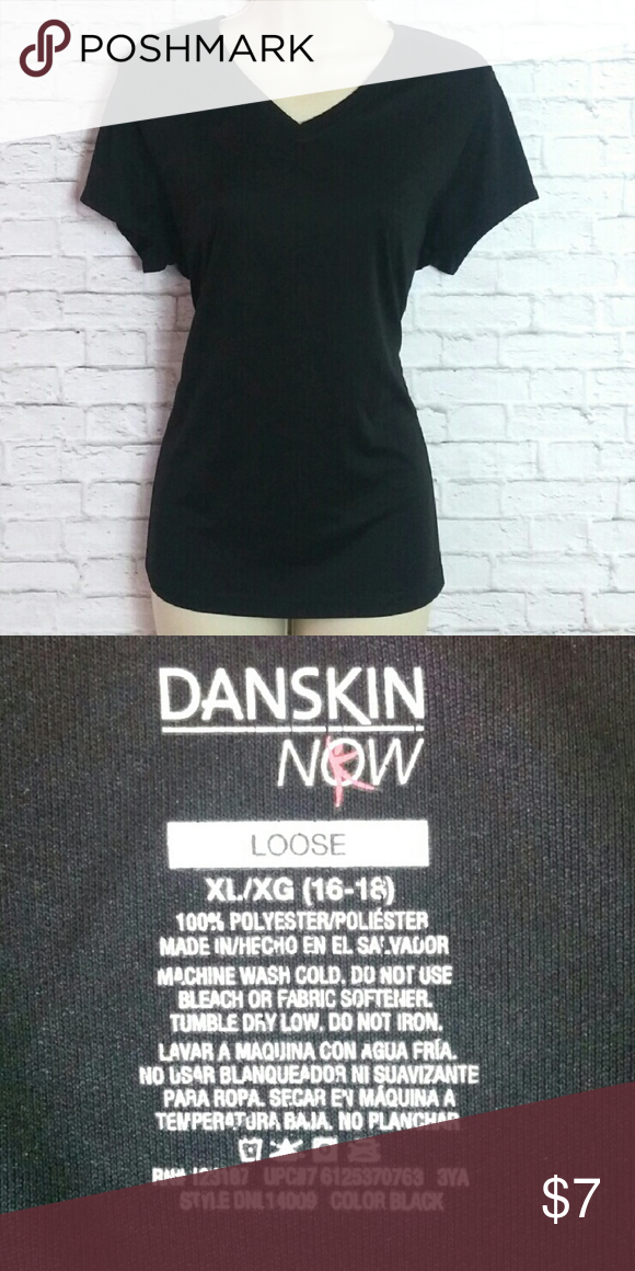 b3db063a3b80b3 Danskin Now Loose Active Wear T-shirt Super comfortable t-shirt to workout  in. Shirt is loose fitting and stretchy. 100% polyester.