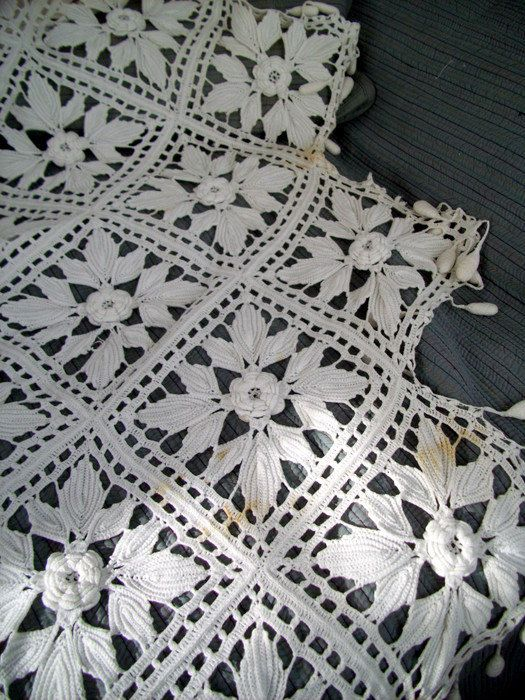 Vintage Crochet Cotton Bedspread or Coverlet Off White and Stunning ...